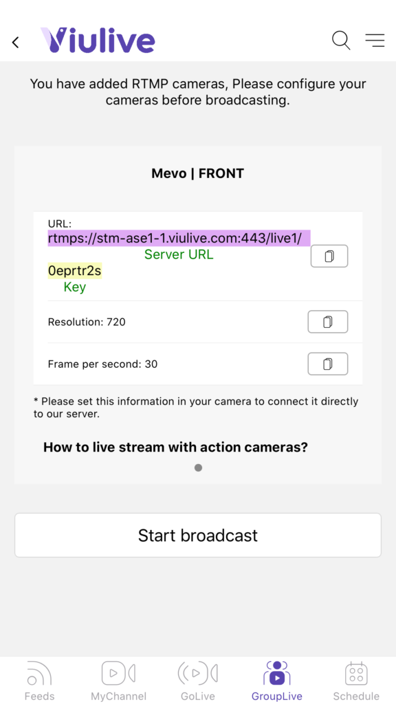 An example of a stream URL and stream key.