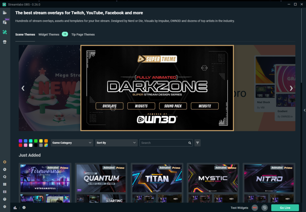 A sample of streamlabs themes a user can choose