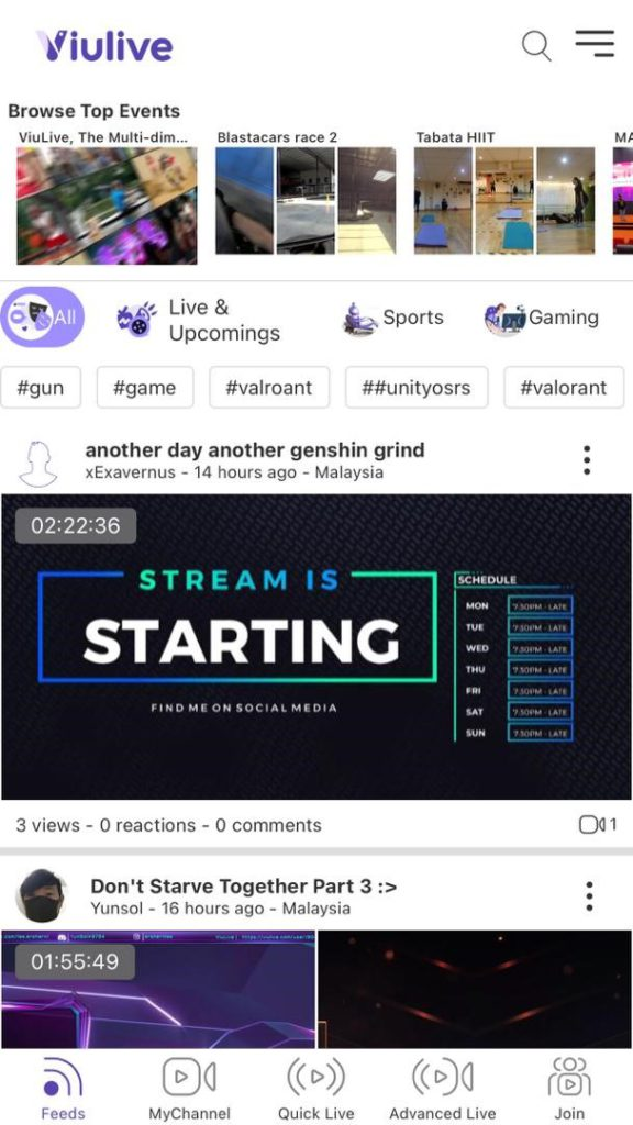 ViuLive feed page