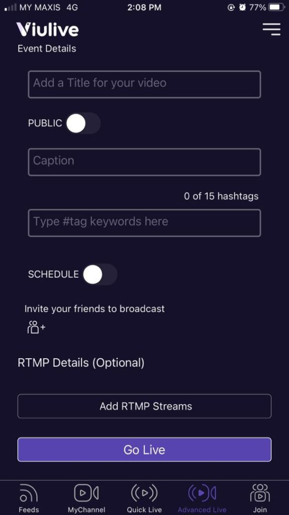 Event details page